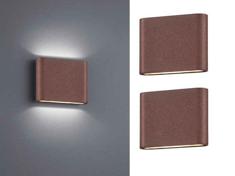 meineWunschleuchte LED Außen-Wandleuchte, 2-er Set Fassaden-Beleuchtung für Haus-Wand up and down, Rost-Optik, Terrasse, Hausbeleuchtung, Außen-Wandlampe, Außen-Lampe, Außen-Leuchte draußen