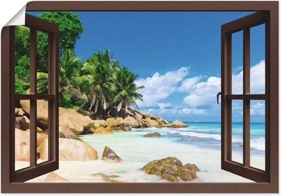 Artland Wandbild »Küste mit Palmen durchs Fenster«, Karibikbilder (1 Stück), in vielen Größen & Produktarten - Alubild / Outdoorbild für den Außenbereich, Leinwandbild, Poster, Wandaufkleber / Wandtattoo auch für Badezimmer geeignet