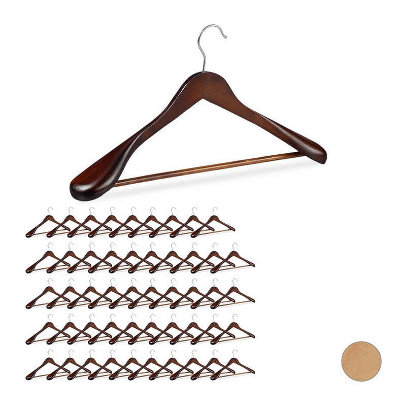 relaxdays Kleiderbügel »50 x Anzug Kleiderbügel braun«