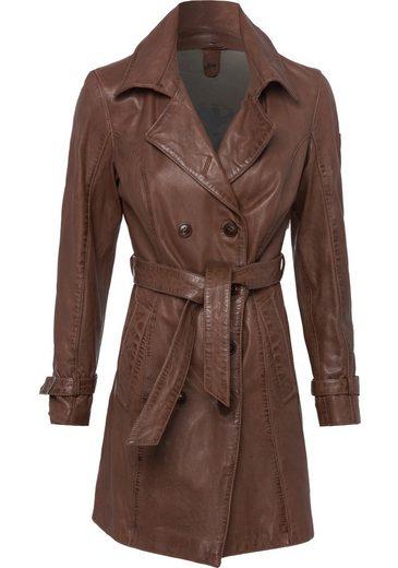 Gipsy Ledermantel »Taresa« (2-tlg., mit Bindegürtel) femininer Leder-Trenchcoat mit Bindegürtel