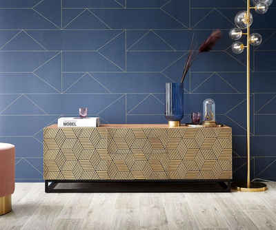 DELIFE Lowboard »Oro«, Akazie Natur 140x40x49 cm Cubes Messing