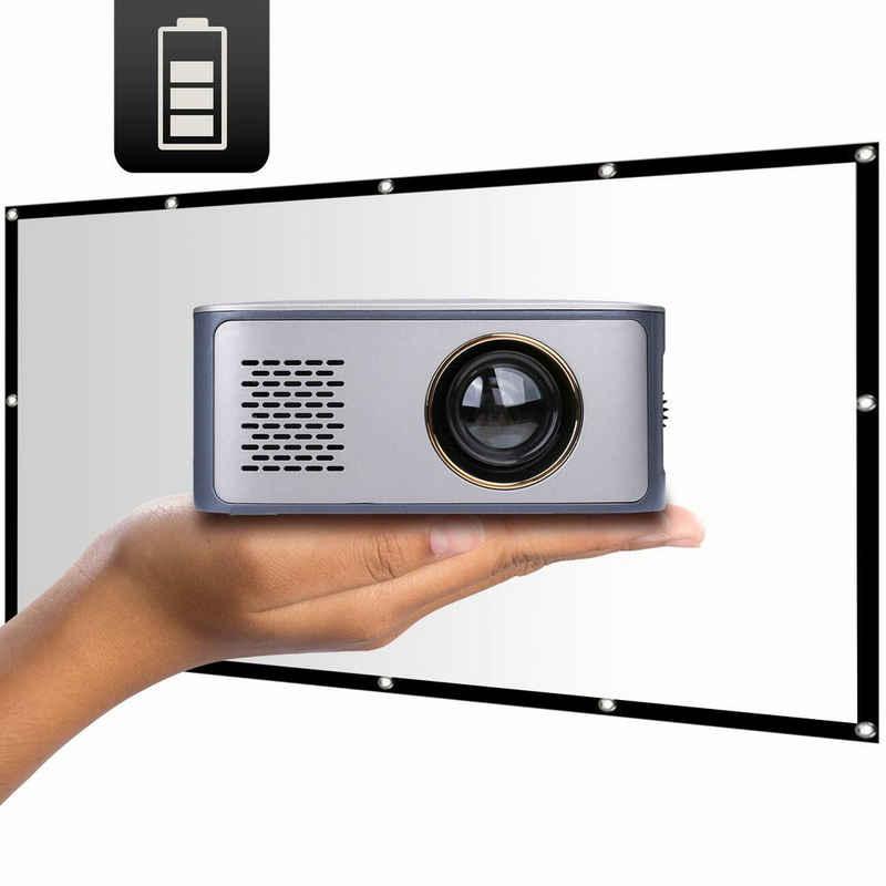 LA VAGUE »LV-HD120 BUNDLE« LED-Beamer (600 lm, 1000:1, 1920 x 1080 px, Mobile Anwendung durch Akku und geringes Gewicht: perfekt für unterwegs)