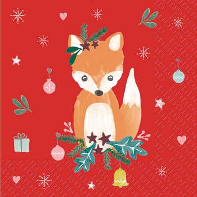 stewo Papierserviette »Christmas Fox«, (5 St), 33 cm x 33 cm
