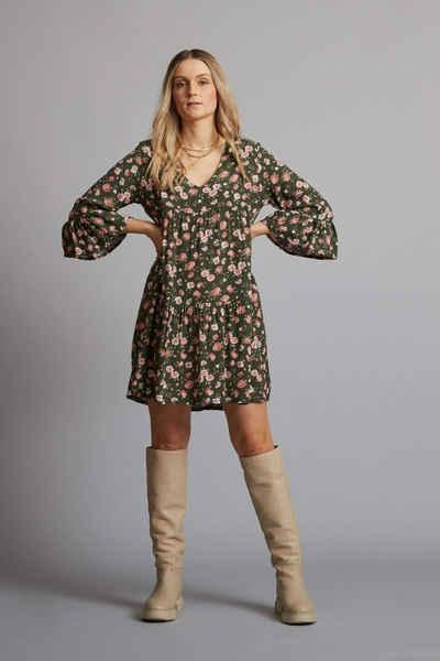 von Herzen Volantkleid »Volantkleid – Kleid – Blumenmuster – Blümchen – 100% Viscose – OneSize – V-Ausschnitt – grün – rosa«