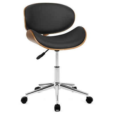 Merax Drehstuhl, Leder gepolsterter drehbarer verstellbarer Computer Bürostuhl PC Sessel