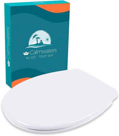 Calmwaters WC-Sitz, Toilettendeckel Premium, Made in EU,Antibakteriell, Absenkautomatik, Abnehmbar, Montage von oben, Standard O-Form