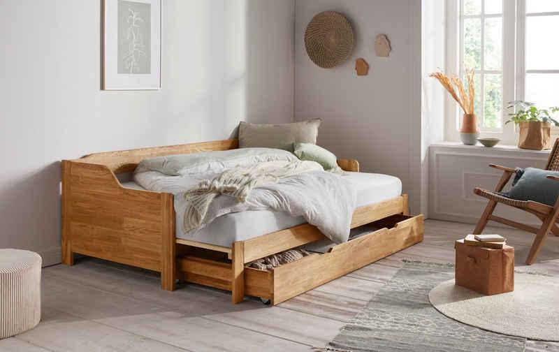 andas Einzelbett »Frita« (3-St), aus massivem Eichenholz, ausziehbar, mit Bettkasten, Breite 97-182,5 cm