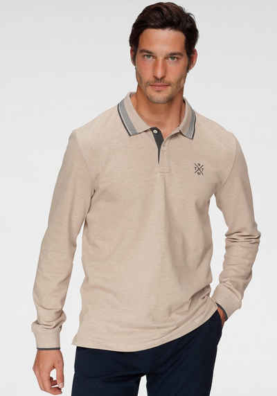 TOM TAILOR Langarm-Poloshirt mit Logostickerei auf der Brust
