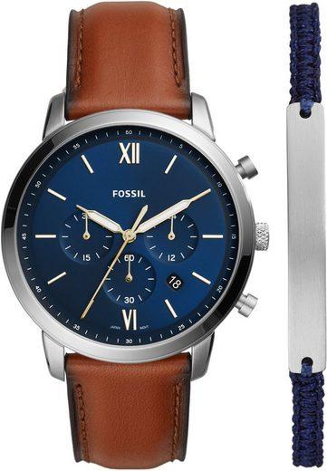 Fossil Chronograph »NEUTRA CHRONO, FS5708SET«, (Set, 2-tlg., Uhr mit zusätzlichem Stoffarmband)