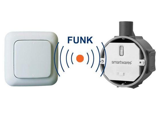 smartwares Zwischenstecker, HomeWizard SET Funk-Schalter Unterputz 230V 1000Watt + batteriebetriebener Wand-Lichtschalter ohne Kabel - nachrüsten