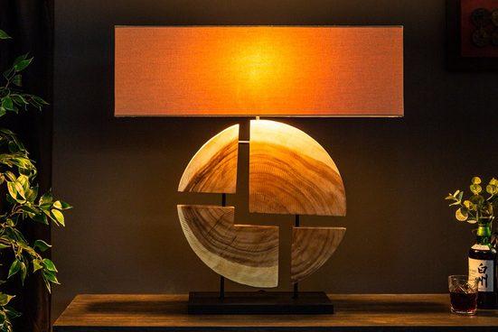 riess-ambiente Tischleuchte »ORGANIC ARTWORK 80cm beige«, Fuß aus Massivholz