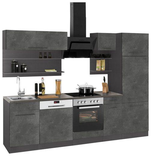 HELD MÖBEL Küchenzeile »Tulsa«, ohne E-Geräte, Breite 270 cm, schwarze Metallgriffe, hochwertige MDF Fronten
