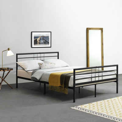en.casa Metallbett, »Rovaniemi« Bettgestell Doppelbett schwarz in verschiedenen Größen