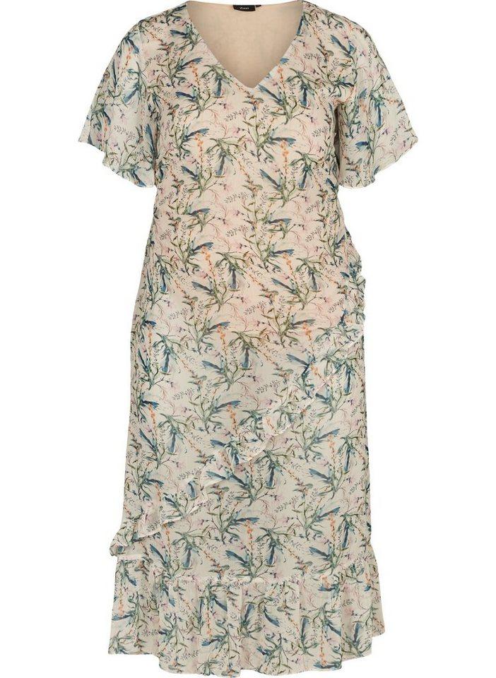 Festtagsmode - Zizzi Abendkleid Große Größen Damen Kurzarm Kleid mit Blumenprint ›  - Onlineshop OTTO
