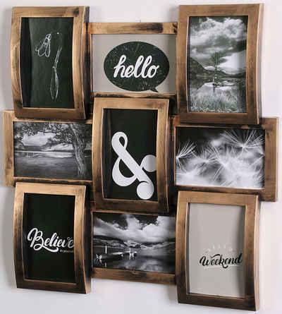 Home affaire Bilderrahmen Collage, für 9 Bilder (1 Stück), Fotorahmen, kupfer/schwarz