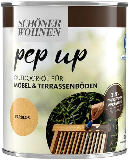 SCHÖNER WOHNEN-Kollektion Holzöl »pep up Outdoor«, 2in1 - pflegt & imprägniert, für Möbel & Terrassenböden, farblos, 1 l
