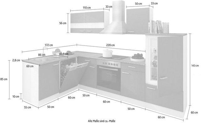 Einbauküchen - RESPEKTA Winkelküche »Hamm«, mit E Geräten, Stellbreite 280 x 172 cm  - Onlineshop OTTO