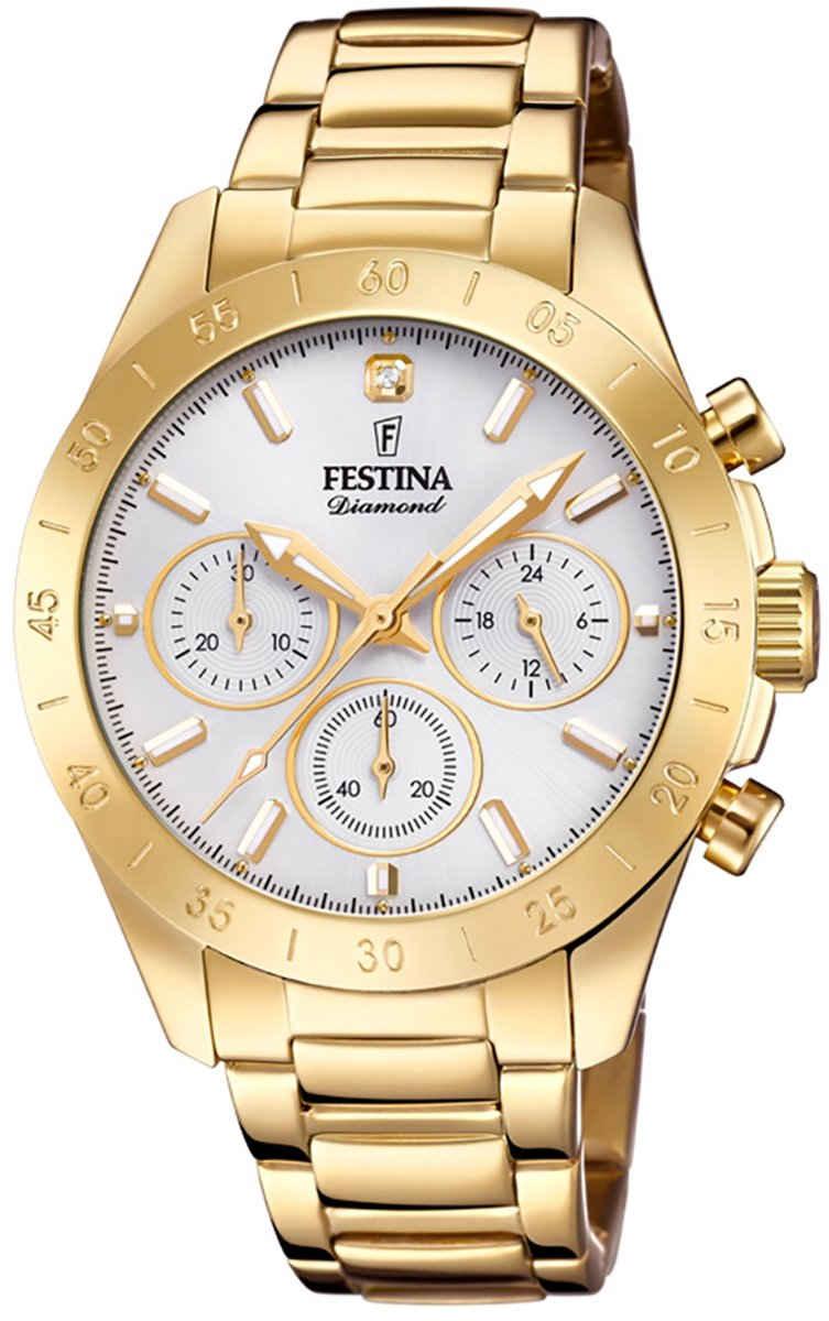 Festina Chronograph »UF20400/1 Festina Damen Uhr Sport F20400/1«, (Chronograph), Damen Armbanduhr rund, Edelstahlarmband gold