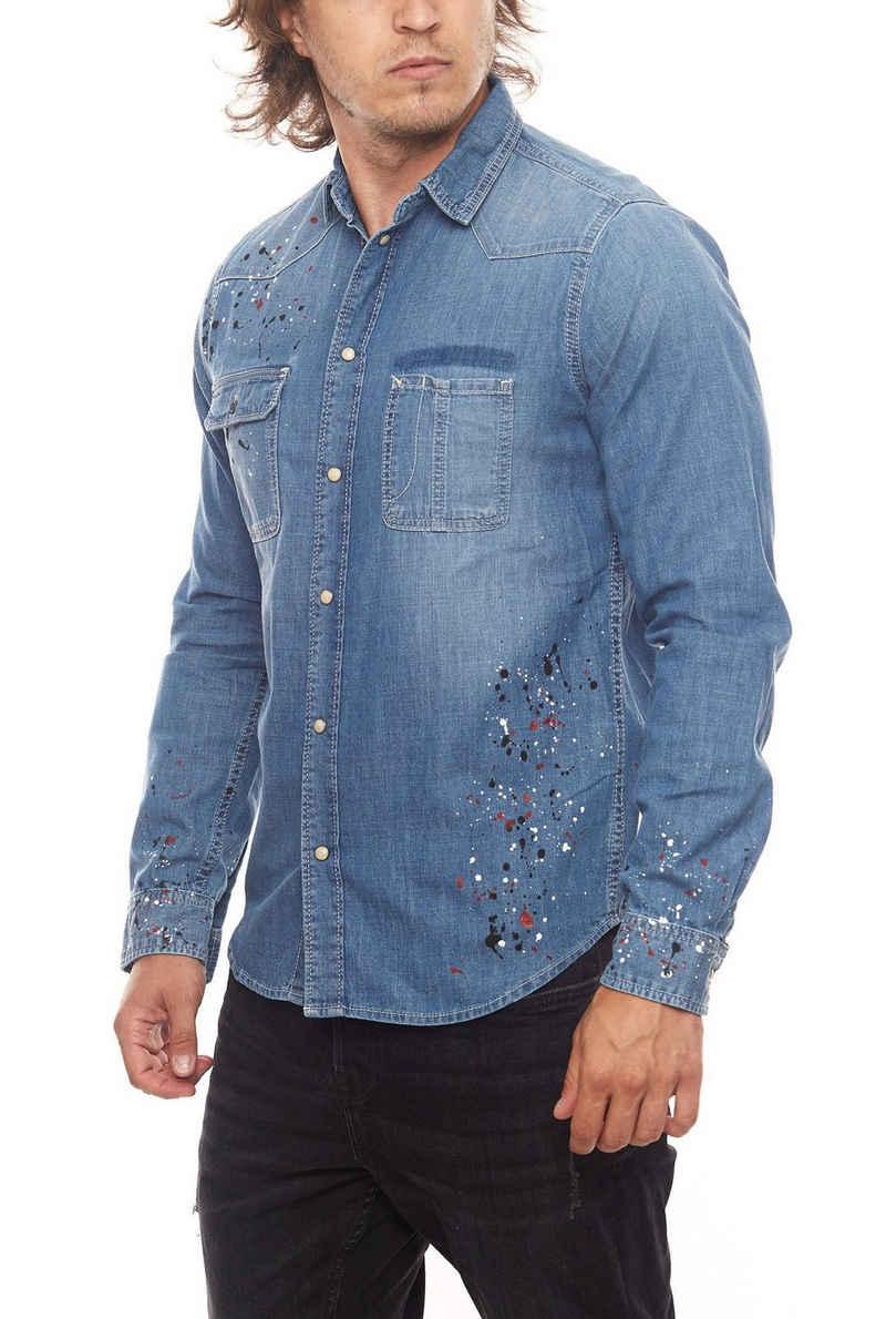 Pepe Jeans Jeanshemd »Pepe Jeans Painter Jeans-Hemd cooles Herren Leinen-Hemd mit Farb-Klecksen Denim Blau«