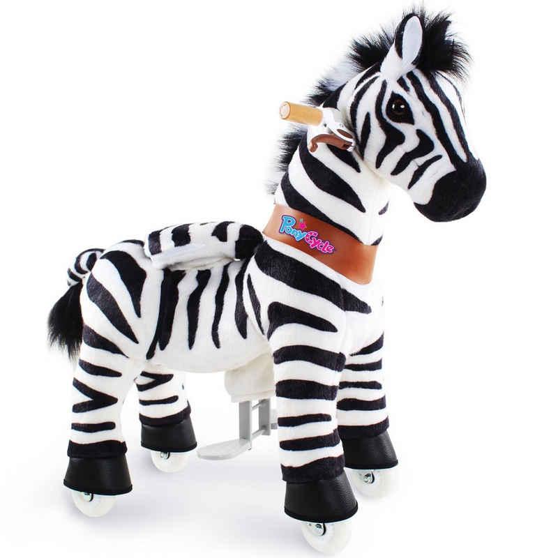 PonyCycle Reitpferd »Modell U 2021 Reiten auf Pferd Spielzeug Plüsch Lauftier - Zebra mit Bremse«, U3 für 3-5 Jahre, Ux368, PonyCycle® Offizieller Shop