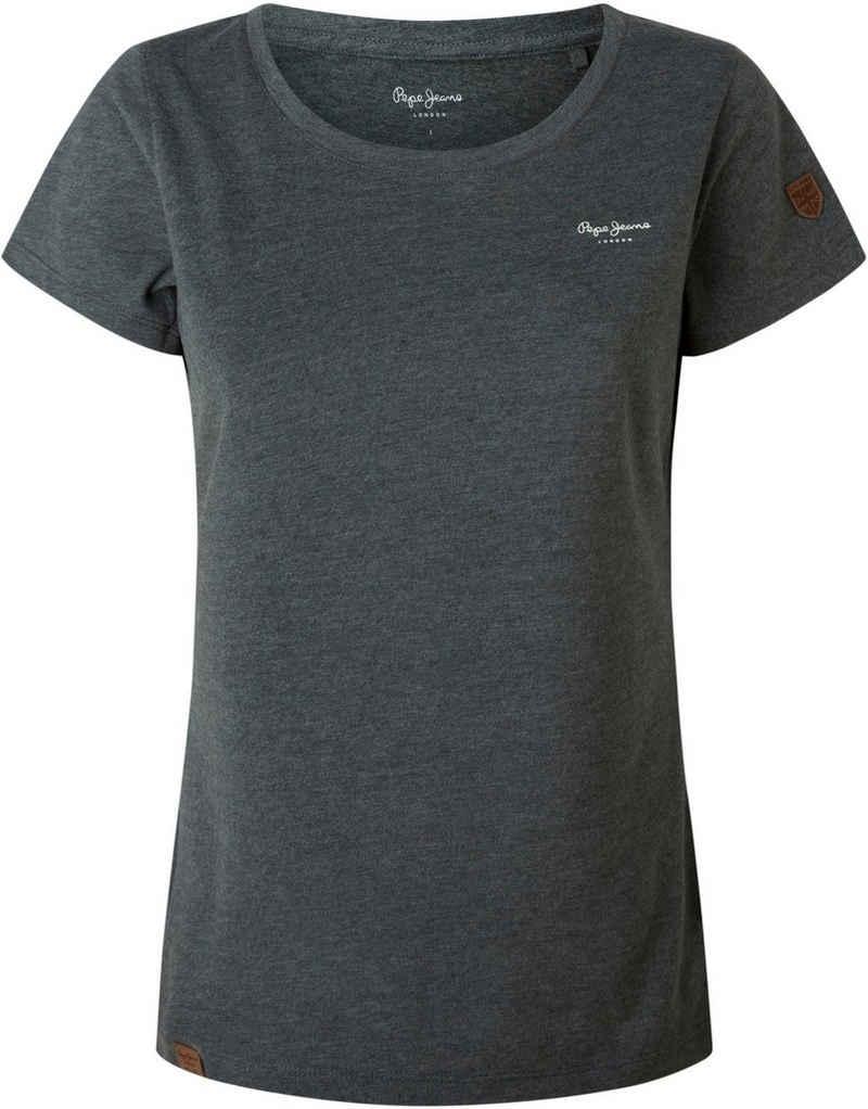 Pepe Jeans T-Shirt »MARJORIE« in unifarbenem Design in toller Basic Passform mit vielen Logo-Labels