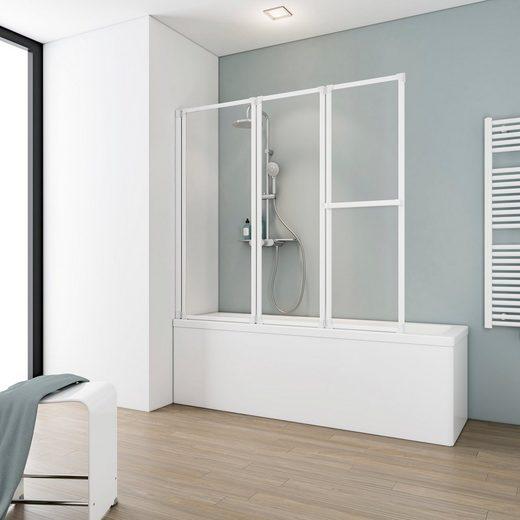 Schulte Badewannenaufsatz »Komfort«, Einscheibensicherheitsglas, (Komplett-Set, 3 tlg), BxH: 127 x 120 cm, zum Kleben oder Bohren