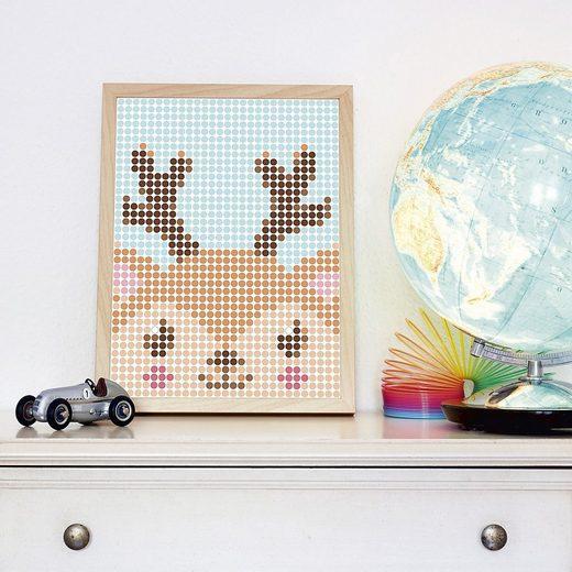 Dot On Malvorlage »dot on art kids - rentier, 30 x 40 cm«