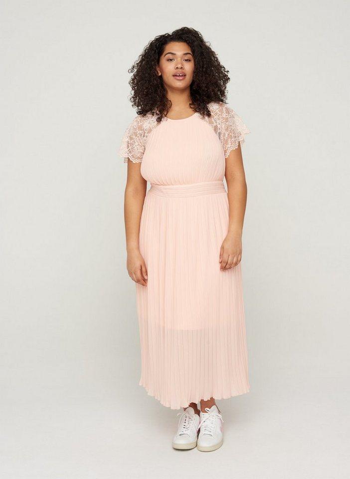 Festtagsmode - Zizzi Abendkleid Große Größen Damen Spitzenkleid mit Smock und Plissee ›  - Onlineshop OTTO