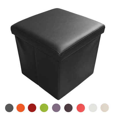 Natsen Sitzhocker, faltbar Sitzbank mit Stauraum Aufbewahrungsbox Kunstleder 38 x 38 x 38 cm (Schwarz)
