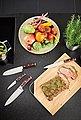 RÖSLE Santokumesser »Rockwood«, scharfes Küchenmesser zum Schneiden von Fleisch, Fisch, Geflügel und Gemüse, Kullenschliff, Klingenspezialstahl, ergonomischer Griff, rotbraunes Pakkaholz, Bild 6