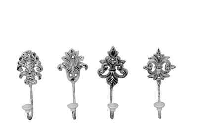 Kleiderhaken »4er Set in Nostalgie − Massiv aus Gußeisen mit Hakenabschluss aus Keramik − 4 verschiedene Wandhaken im Lilien−Design«, BigDean