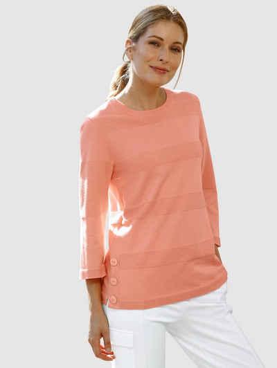 Laura Kent 3/4 Arm-Pullover mit seitlicher Knopfleiste