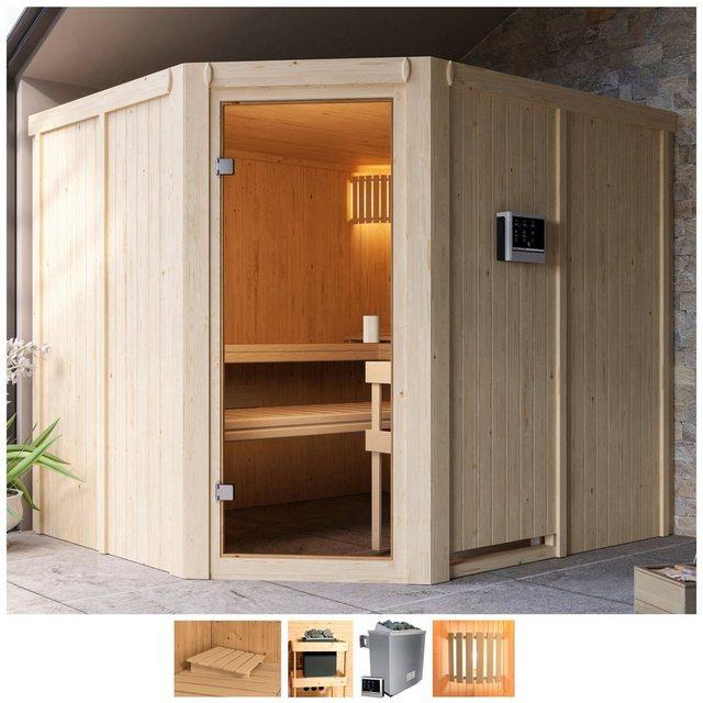 Saunen und Zubehör - Karibu Sauna »Henrika«, BxTxH 231 x 196 x 198 cm, 68 mm, 9 kW Ofen mit ext. Steuerung  - Onlineshop OTTO