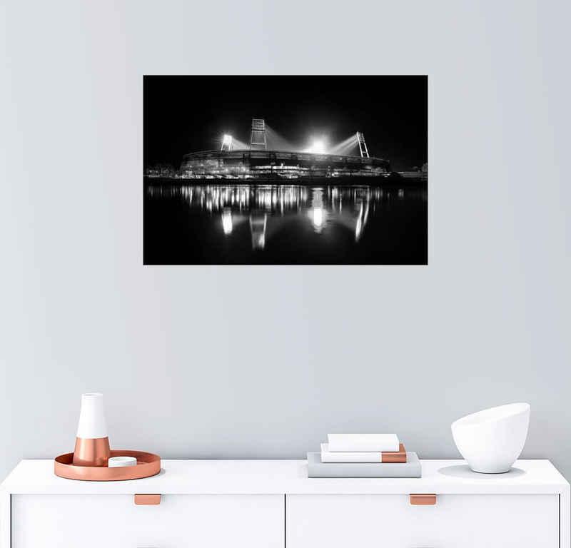 Posterlounge Wandbild, Bremer Stadion schwarz/weiß