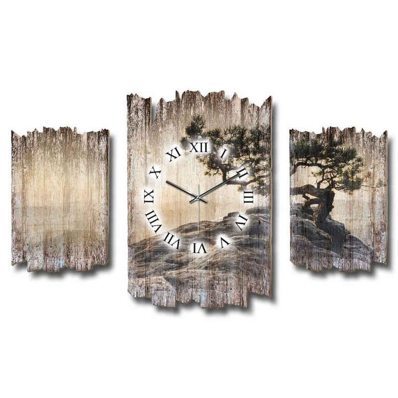 Kreative Feder Wanduhr »Einsamer Baum« (Dreiteilige Wanduhr, Holz, Wandbild, Wanddeko, Funkuhr, Quarzuhr, leise/kein Ticken, Natur, Baum, Landschaft, DTWH017)