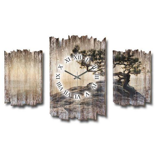 Kreative Feder Wanduhr (Dreiteilige Wanduhr, Holz, Wandbild, Wanddeko, Funkuhr, Quarzuhr, leise/kein Ticken, Natur, Baum, Landschaft, DTWH017)