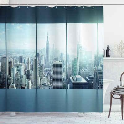 Abakuhaus Duschvorhang »Moderner Digitaldruck mit 12 Haken auf Stoff Wasser Resistent« Breite 175 cm, Höhe 200 cm, New York Städtische moderne Stadt