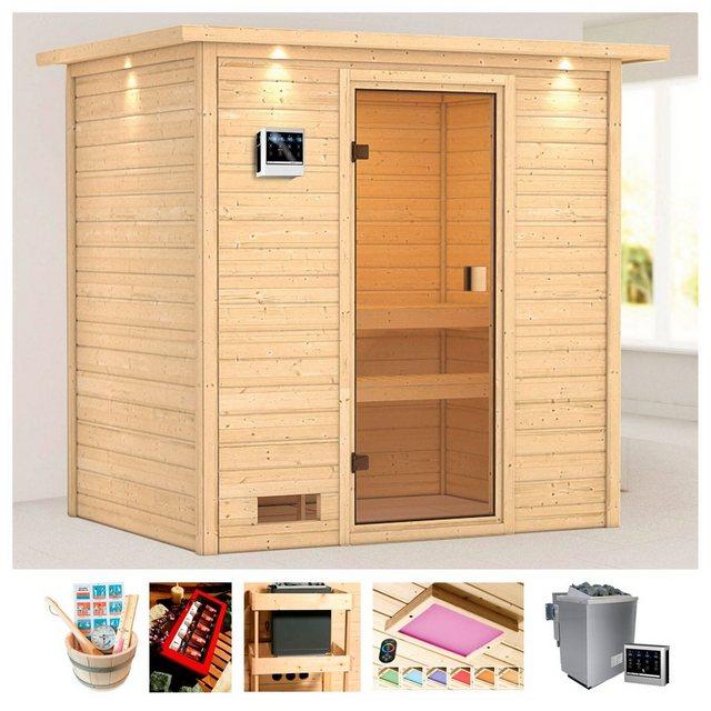 Saunen und Zubehör - KARIBU Sauna »Daggie«, 223x159x191 cm, 9 kW Bio Ofen mit ext. Steuerung, Dachkranz  - Onlineshop OTTO