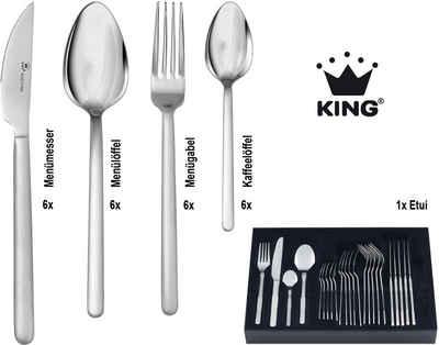 KING Besteck-Set »Moni«, pflegeleicher Edelstahl mit mattierter Oberfläche, mit Besteck-Etui, 25 Teile für 6 Personen