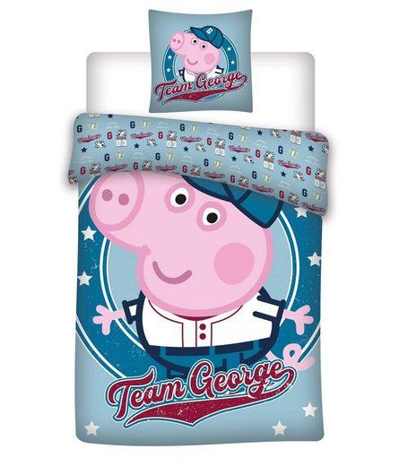 Babybettwäsche »Peppa Pig Wutz - Baby-Bettwäsche-Set, 100x135 & 40x60 cm, George«, Peppa Pig, 100% Baumwolle