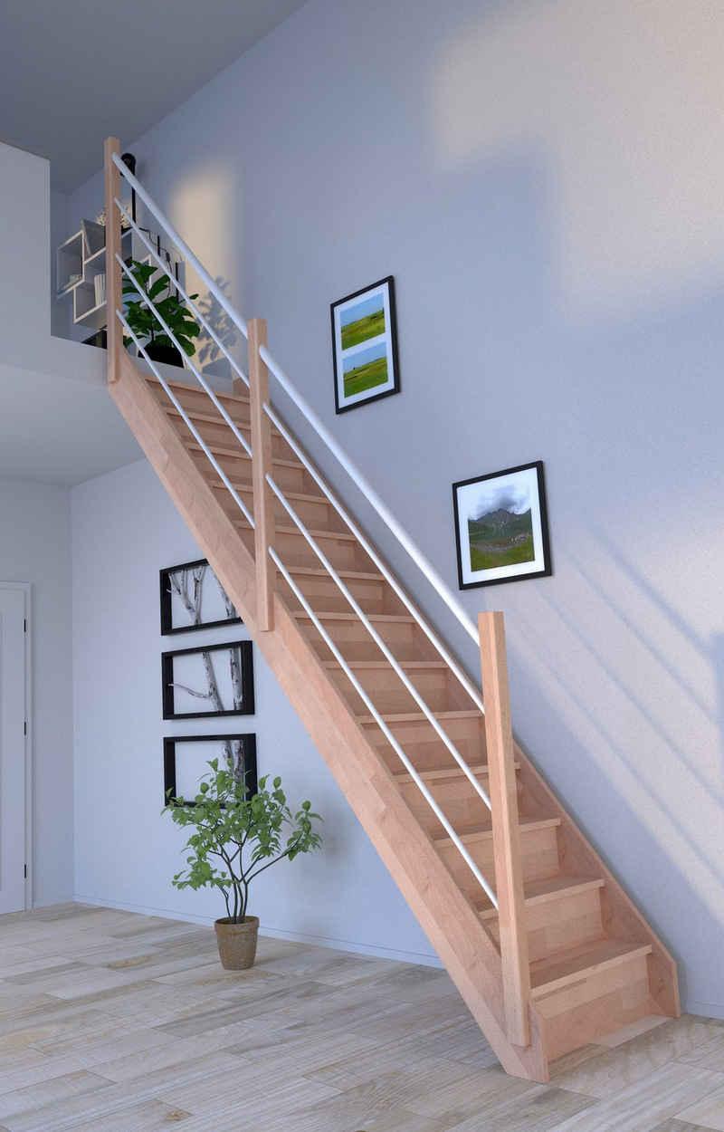 Starwood Raumspartreppe »Massivholz Rhodos, Design-Geländer Edelstahl«, für Geschosshöhen bis 300 cm, Stufen offen, Durchgehende Wangenteile