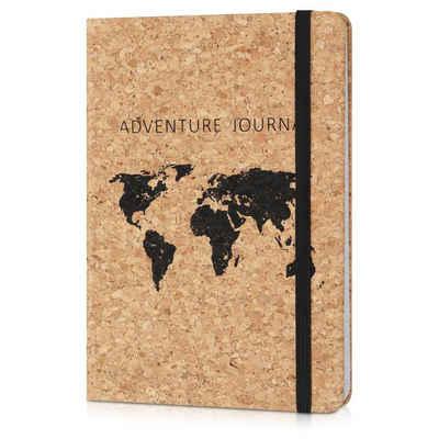 Navaris Notizbuch, Journal aus Kork liniert mit Gummiband - 18x13cm Hardcover Notebook 100 Seiten - mit Bändchen und Fach im Einband - World Map Design