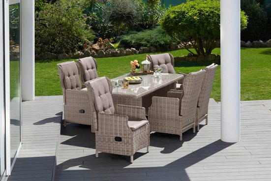 MERXX Gartenmöbelset »Riviera«, 13-tlg., 6 Sessel, Tisch 200x100 cm, Kunststoff/Stahl