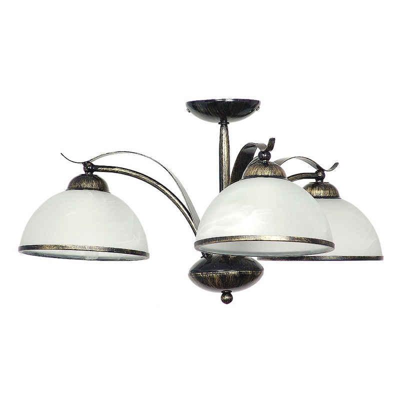 Licht-Erlebnisse Deckenleuchte »KORFU«, Deckenleuchte Messing antik Weiß floral Glas Metall Küche Lampe