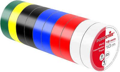 Poppstar Isolierband 10x 10m Universal Isolierband Klebeband Abdichtband (19mm breit, bunt)