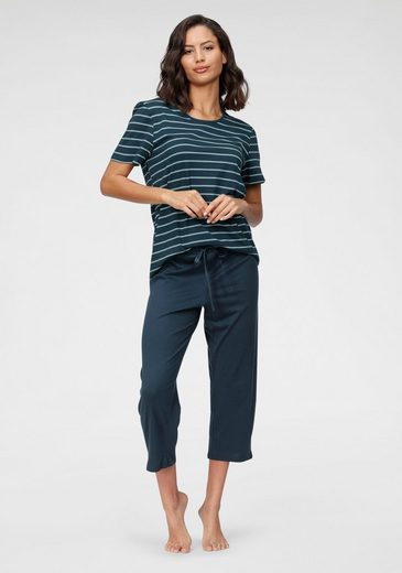 Schiesser Capri-Pyjama mit geringeltem Top