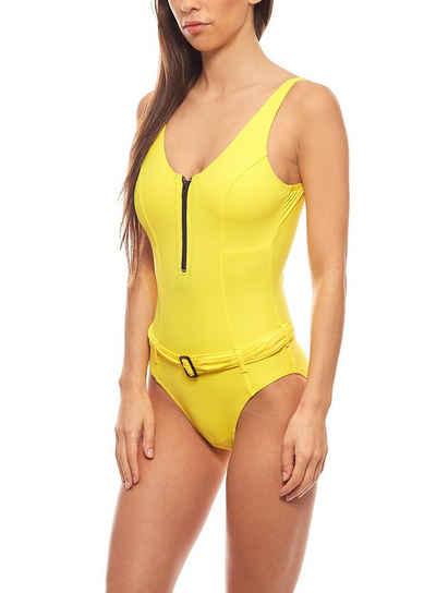 Heine Badeanzug »Bauchweg-Badeanzug Rückenausschnitt Schwimmanzug C-Cup Gelb heine ausgefallene Bademode«