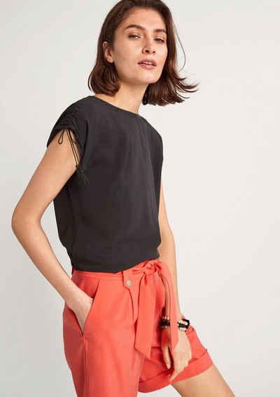 Comma Kurzarmshirt »Shirt mit Quastenbändchen« (1-tlg) Quasten, Raffung