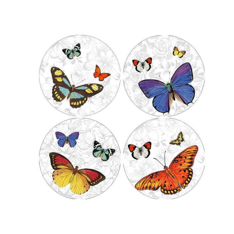 HTI-Line Glasuntersetzer Untersetzer 4-tlg Schmetterling, 4-teilig, 4-tlg., Untersetzer