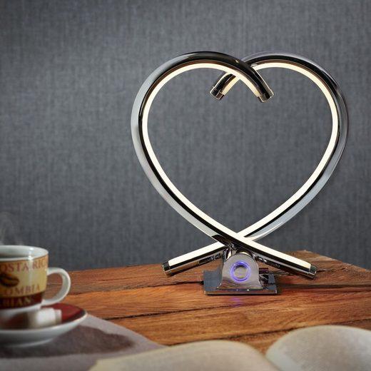 famlights LED Tischleuchte »LED Herz Tischleuchte Valor in chrom«, Tischleuchte, Nachttischlampe, Tischlampe